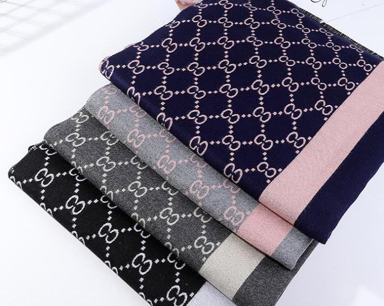 2021 Новый уличный стиль алфавит-полосатый шарф для мужчин и женщин с утолщенным теплым имитацией кашемировой шали для зимнего шеи студентов