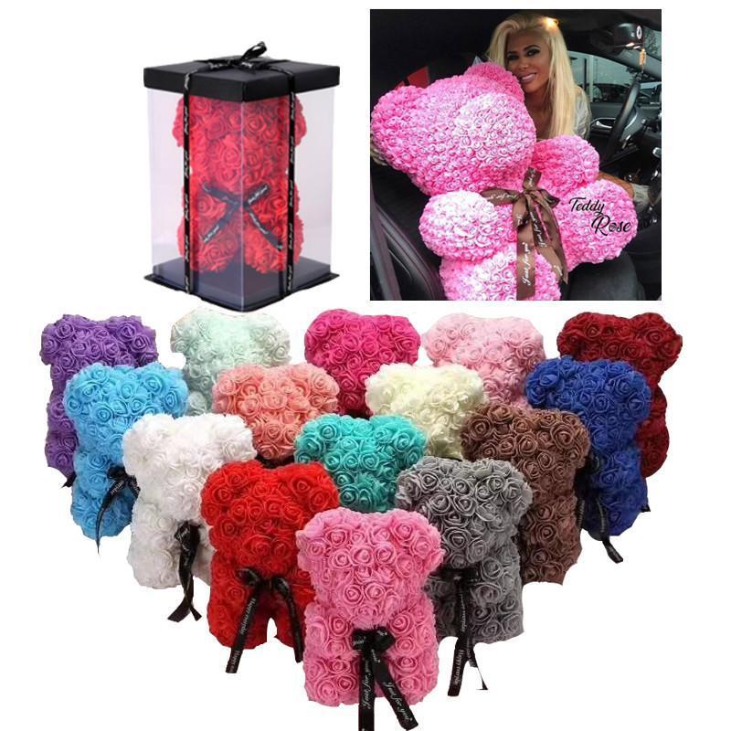 38 CM Gül Teddy Bear Yapay Çiçek LED Dizeleri Dekorasyon Gül Ayı Düğün Sevgililer Günü Hediyeleri Kadınlar Için Ev Dekorasyon CM27