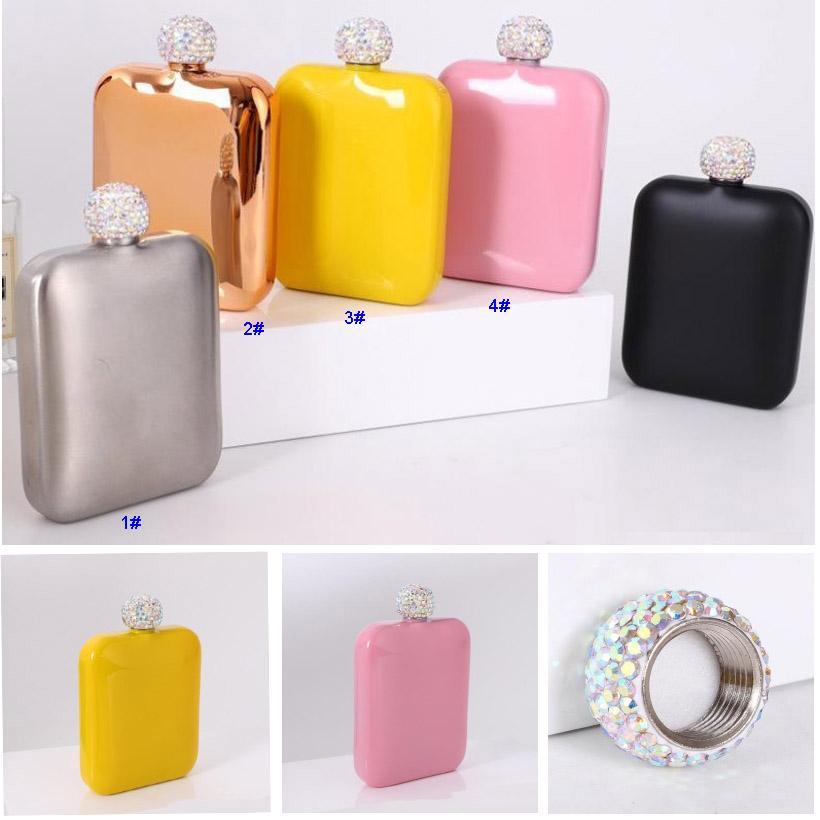 6oz paslanmaz çelik kalça şişesi elmas kapak bayanlar ile açık taşınabilir kare hipflasks mini cep drinkware 5 renkler HH21-205
