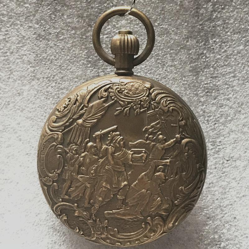 Relojes de bolsillo Antiguo WatchPure Cobre Spartan Guerrero Mecánico Doble Pin Cinco Pin Flywheel Watch, Antique R4JC