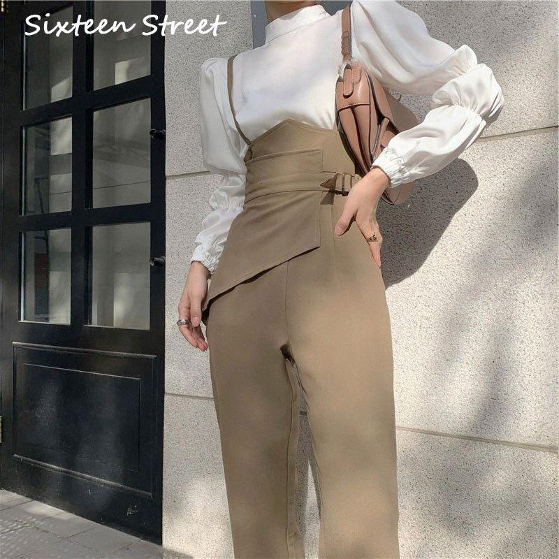 Overalls For Women 2020 Autumn Pants Office Lady Solid Loose Female Trousers High Waist Slim Straight Femme Black Elegant Y2k K185#