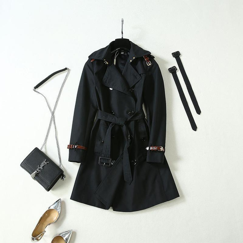Women's Trench Coats Taobao Live Supply Europe And America 2021 Spring Model Black Double-Sleeved Windbreaker Female X-Long Coat