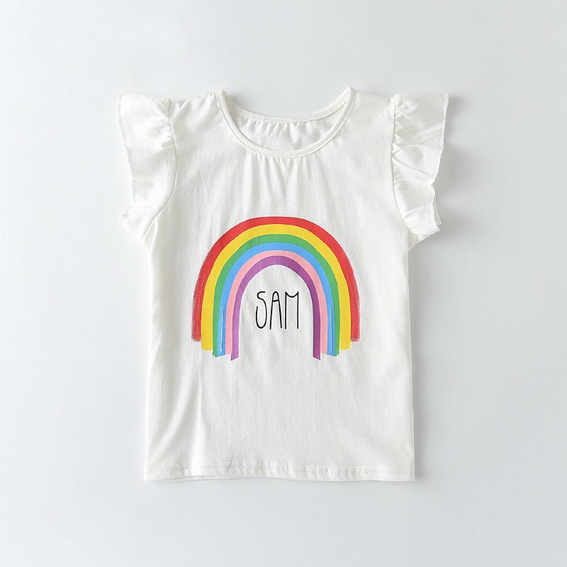Melario Kids T-Shirt fo Children Boys Girls Cotton White T-shirts Baby Toddler Rainbow Party Tee Tops Clothing Short Tees 210412