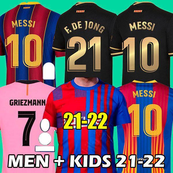 21 22 برشلونة لكرة القدم جيرسي 2021 2022 ميسي أنسو فتي كاميسيتا فوتبول جريزمان دي جونج مايلوتس تايلاند لكرة القدم قميص 4th