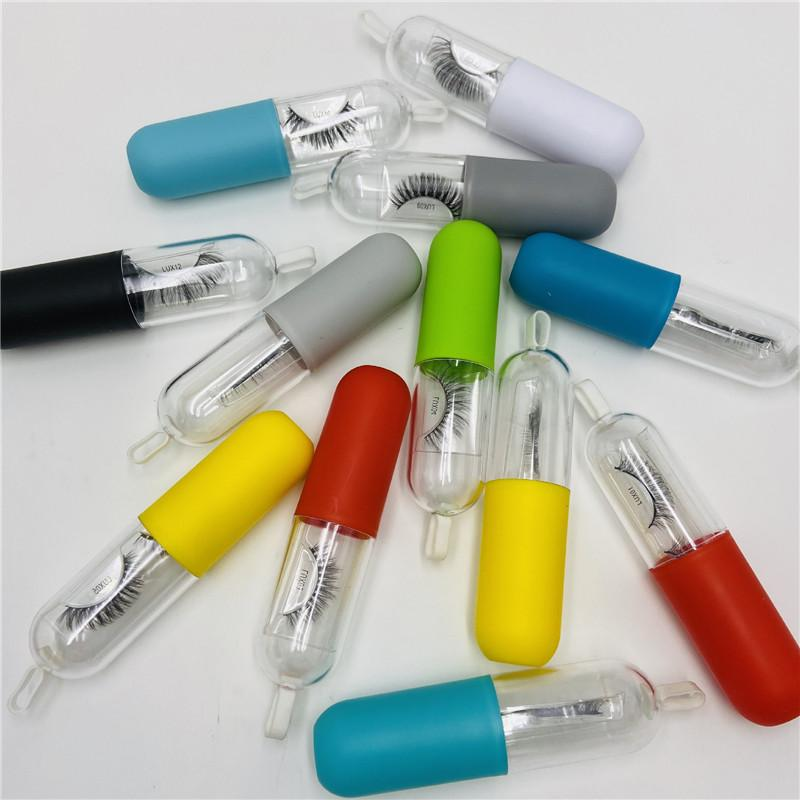 3D Mink Eyelashes Natural Thick False Eye Lashes In Reusable Capsule Storage Box Eyelash Extension Makeup Tools