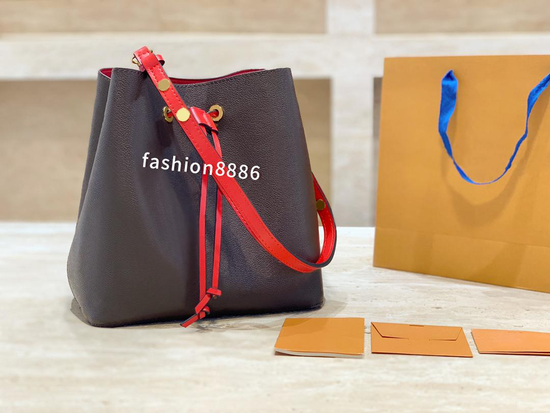 2style 26cm red middle Fashion classic Bucket wallet shoulder bag womens design Crossbody high quality handbag purse
