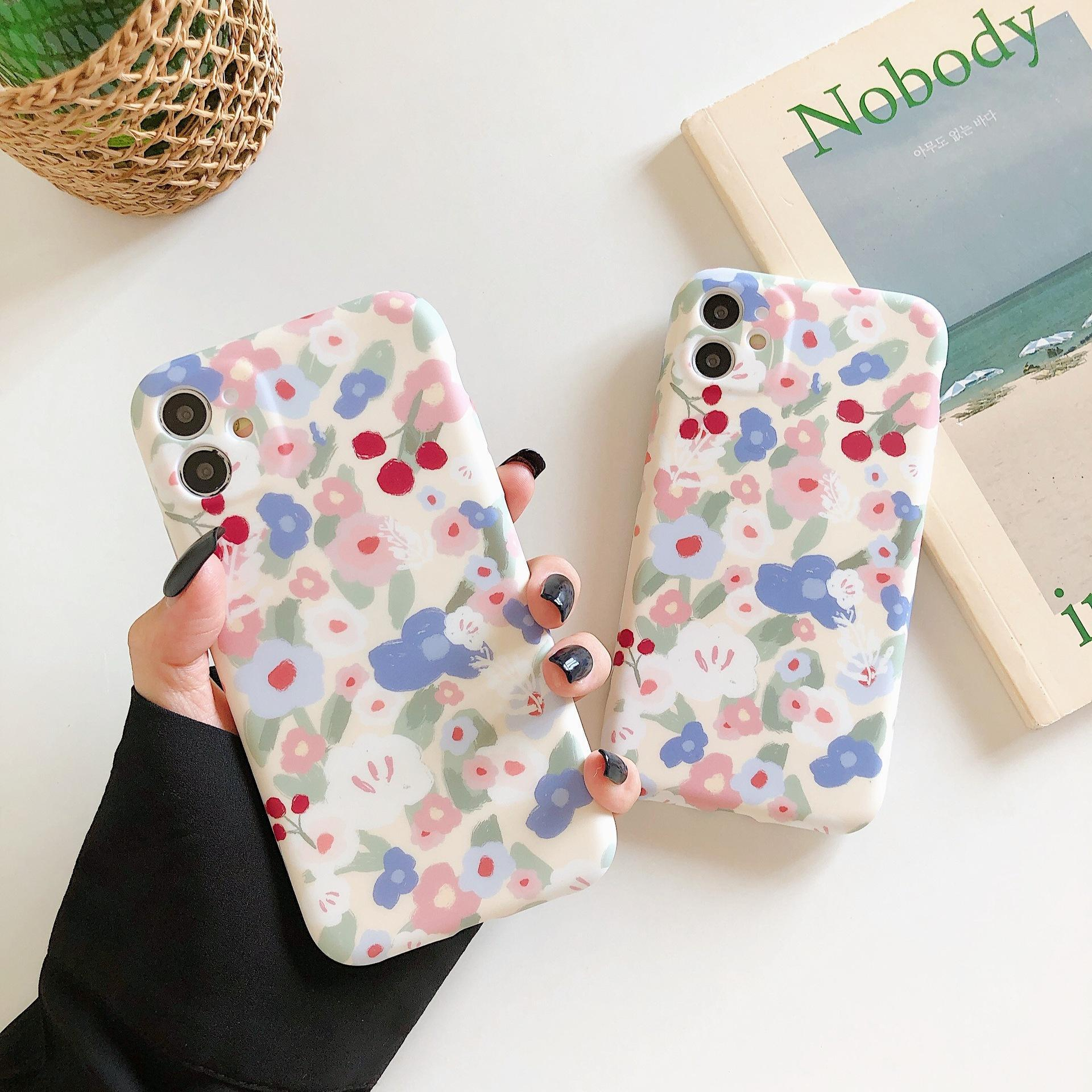 Cartoon Cute Cherry Phone Cases for IPhone12 Pro Max X XR XS 7 8 Plus Soft Matte Floral Shockproof Cover on 12 11 ProMAX MINI
