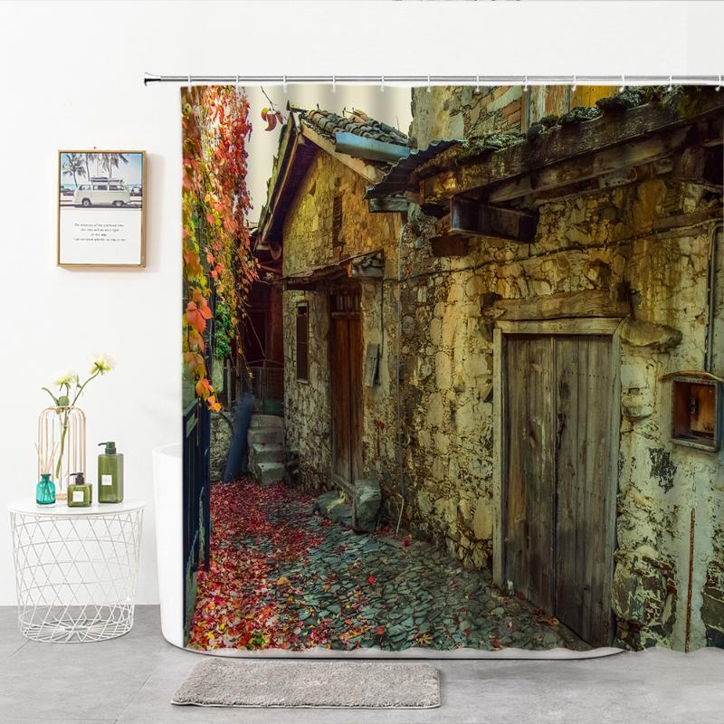 Shower Curtains Retro European Style Curtain Old Wooden Door Houses Trail Road Decorated Bath 3D Perforated Red Leaves