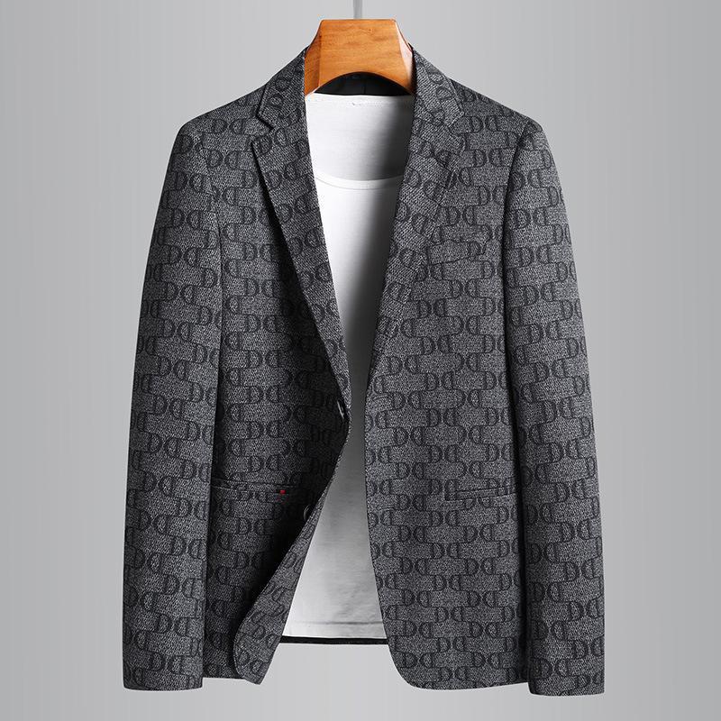Minglu İlkbahar Yaz Erkek Blazer Yüksek Kalite Tek Göğüslü Tüm Baskılı Erkek Moda Slim Fit Casual Adam 4XL Erkek Takım Elbise Blazers