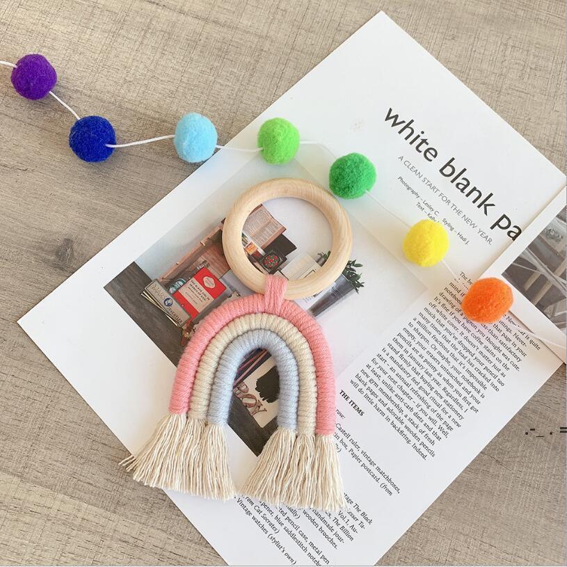 Perles de bois d'arc-en-ciel circulaire Tassel suspendu Pendentif Ferme Décor Sous Câblée Creative Corde Courde Corde Perles Home Décoratif BWC7169