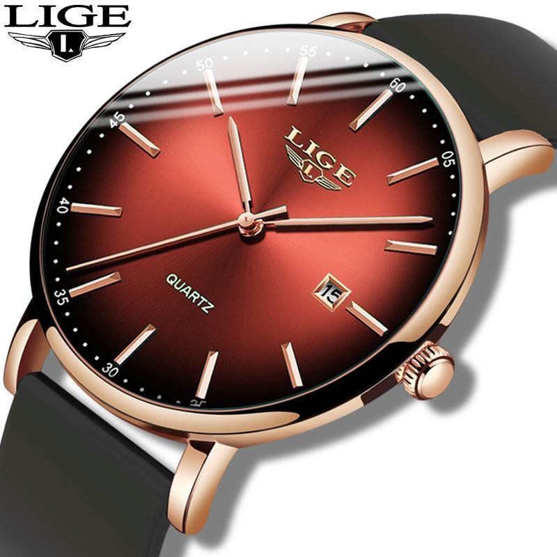 المعصم Lige الأحمر أعلى مشاهدة الرجال فريد سيليكون حزام للماء كوارتز ساعة الذكور عارضة جميع الصلب الهاتفي ساعة اليد + مربع