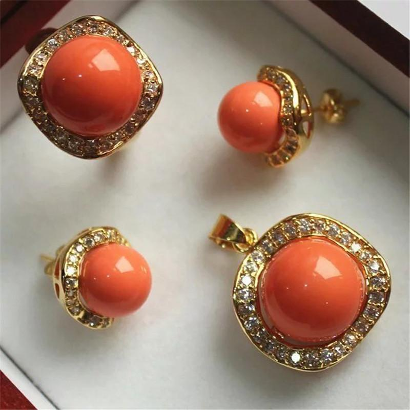 Charming South Sea Shell Pearl Pendant Earings Ring Jewelry Set Fine Luxury Noble Real Natural Party Wedding Gift Earrings & Necklace