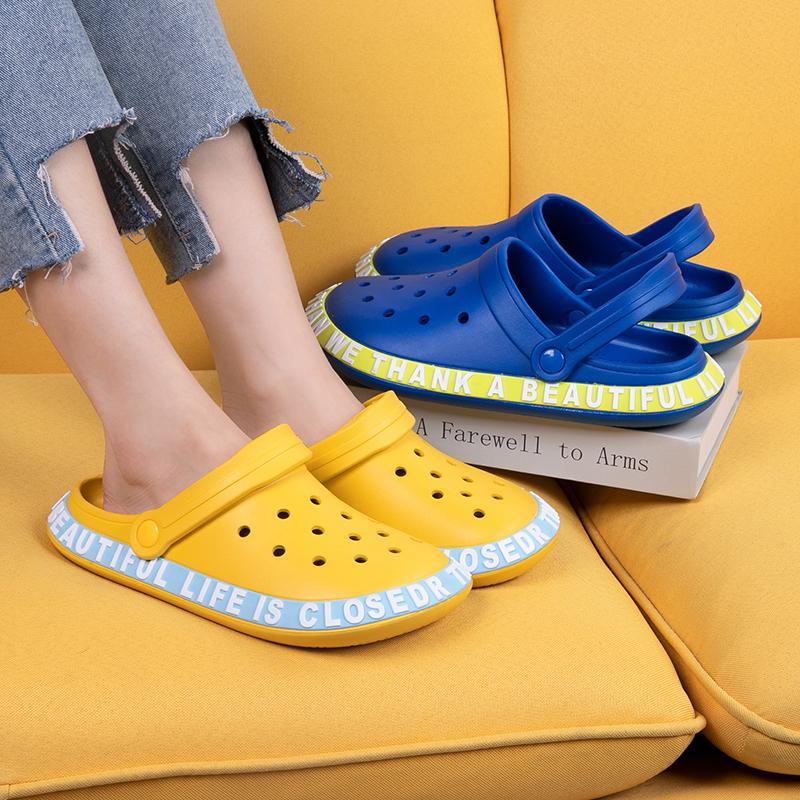 Yeni Moda Terlik Slaytlar Ayakkabı Kauçuk Sandalet Kadın Platformu Yürüyüş Yumuşak Alt Hafif Toptan İndirim Nefes Boyutu 36-44