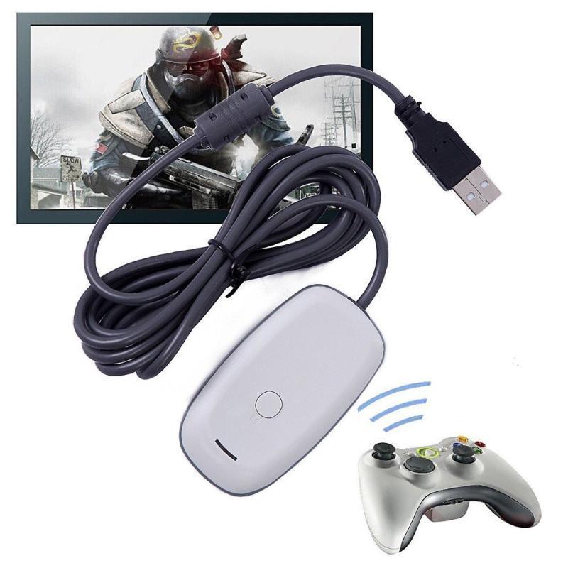 تحكم ألعاب المقود ل Xbox 360 استقبال USB أسود الكمبيوتر اللاسلكي تحكم الألعاب محول مايكروسوفت