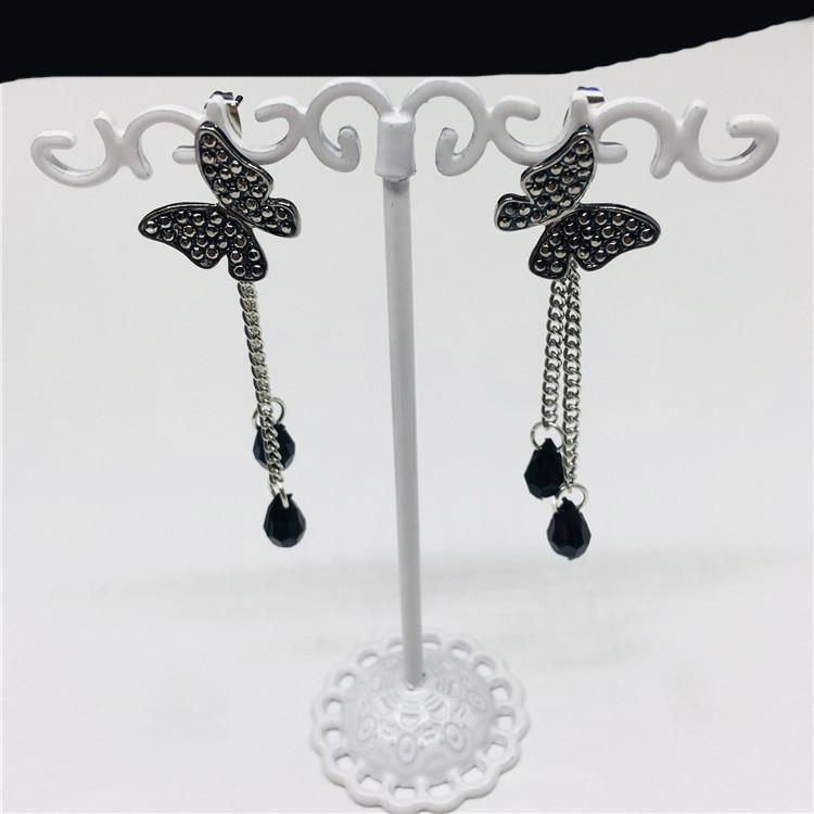 Fashion Women Long Stud Poder Black Butterfly Lindo Animal Crasina Cadena Colgante Pendientes de borla