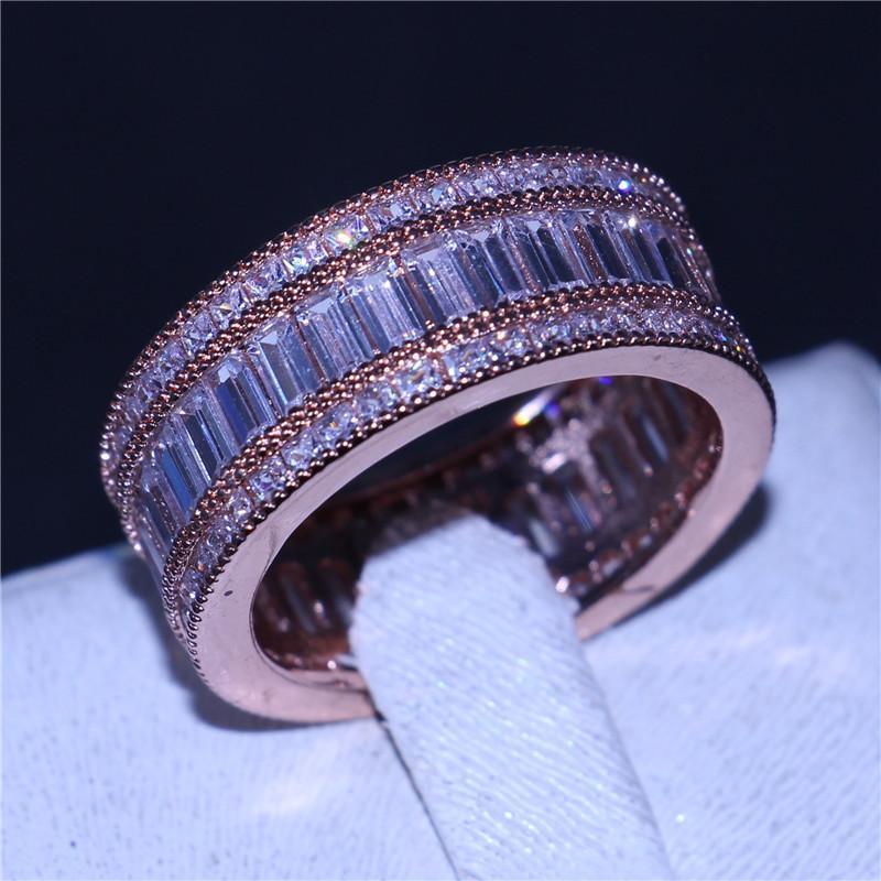 Lüks Kadın Yüzük Tam Prenses Kesim 15CT Diamonique CZ Gül Altın Dolu Nişan Düğün Band Yüzükler Kadınlar için