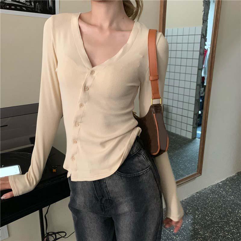 버튼 V 넥 카디 건 여성 스웨터 얇은 슬림 맞는 레이디 봄 가을 푸시 저지 Mujer 여성의 니트 티셔츠