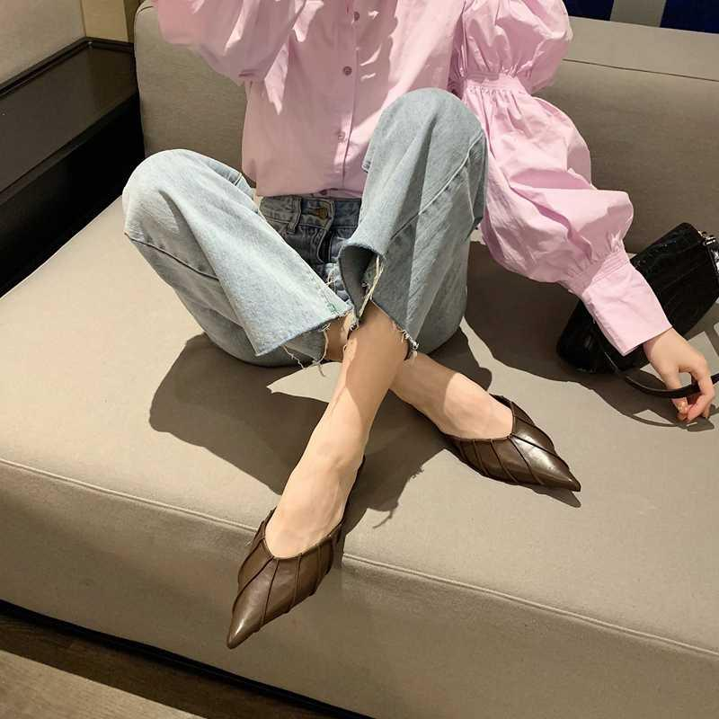 Bayanlar Muller Ayakkabı Rahat Pileli Sivri Yumuşak Deri Sığ Ağız Sandalet ve Terlik Tüm Maç Baotou Yarım