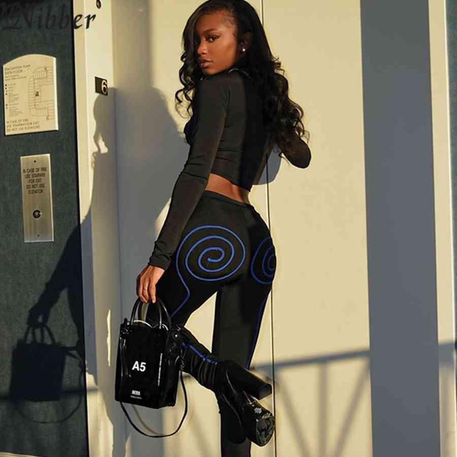 Nibber Trainingsanzüge Frauen Gestreift gedruckt Zweiteiler Set 2021 Basic Tops Leggings Co-ord Y2k Undefined Streetwear-Trainings-Outfits C0402