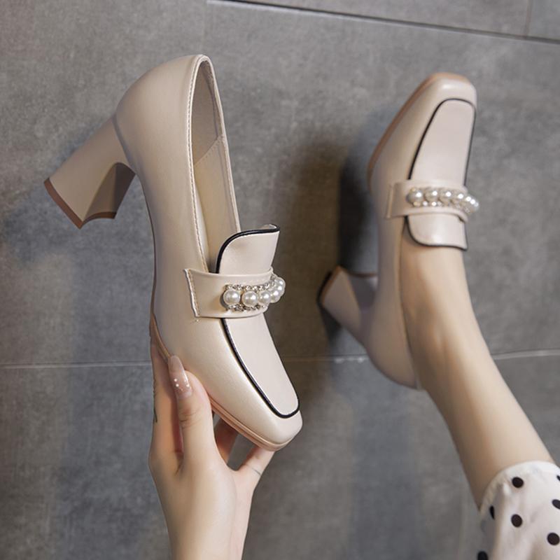Kleid Schuhe Block Heels für Frauen Pumps Sandalen Damen All-Match Slip On Lace-up Square Tehe Chunky Spring Beige Beiläufige Afrikanisches Leder