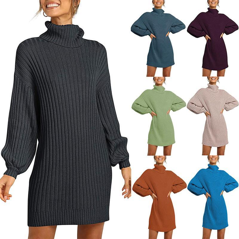 Женщины вязаные свитеры платье зимняя мода сплошной цвет с длинным рукавом топы фонарь пуловер водолазки свитер юбка S-XL5 * женщин