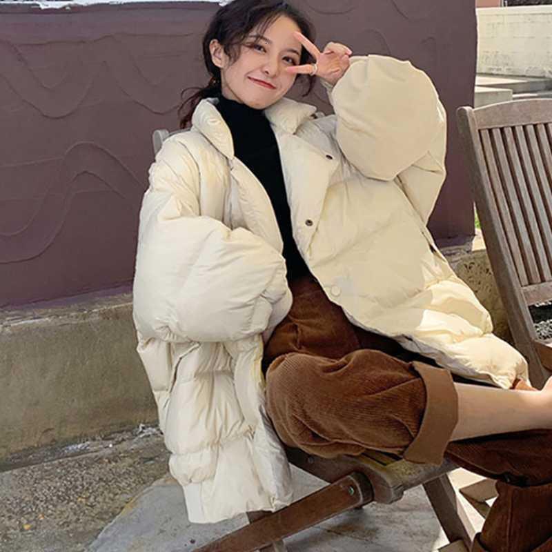 Frauen Down Parkas Stil Weiße Jacke Winter Verdickte Warme Ente Frauen Mantel Medium Lose Mode Weibliche Kleidung FWJR