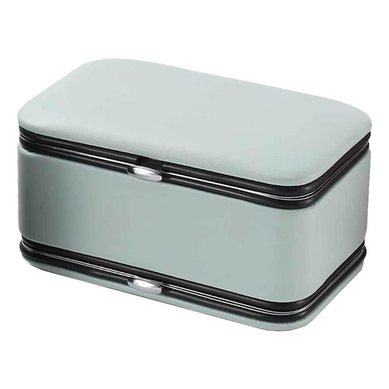 حقائب المجوهرات، أكياس N58F بو الجلود مربع مانيكير أدوات المنظم 2 طبقات مع مرآة أقراط الدائري قلادة عرض تخزين حالة السفر
