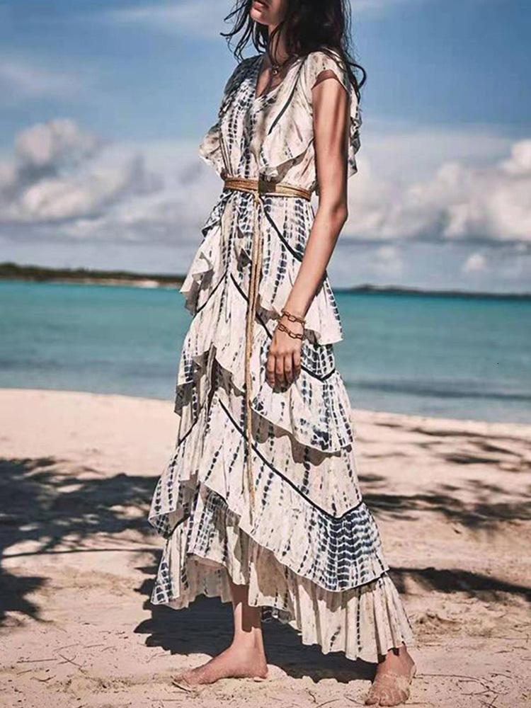 Ladies Casual Dresses Big-name summer cotton 3D printing ruffled elegant dress womens wear irregular fashion party puff skirt XL