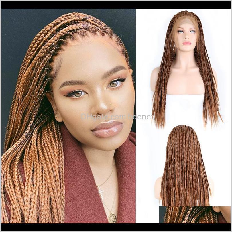 Charisma Brown Wigs Boîte tressée Boîte avec perruque de frontière synthétique pour cheveux pour femmes FMJMG NCWYI