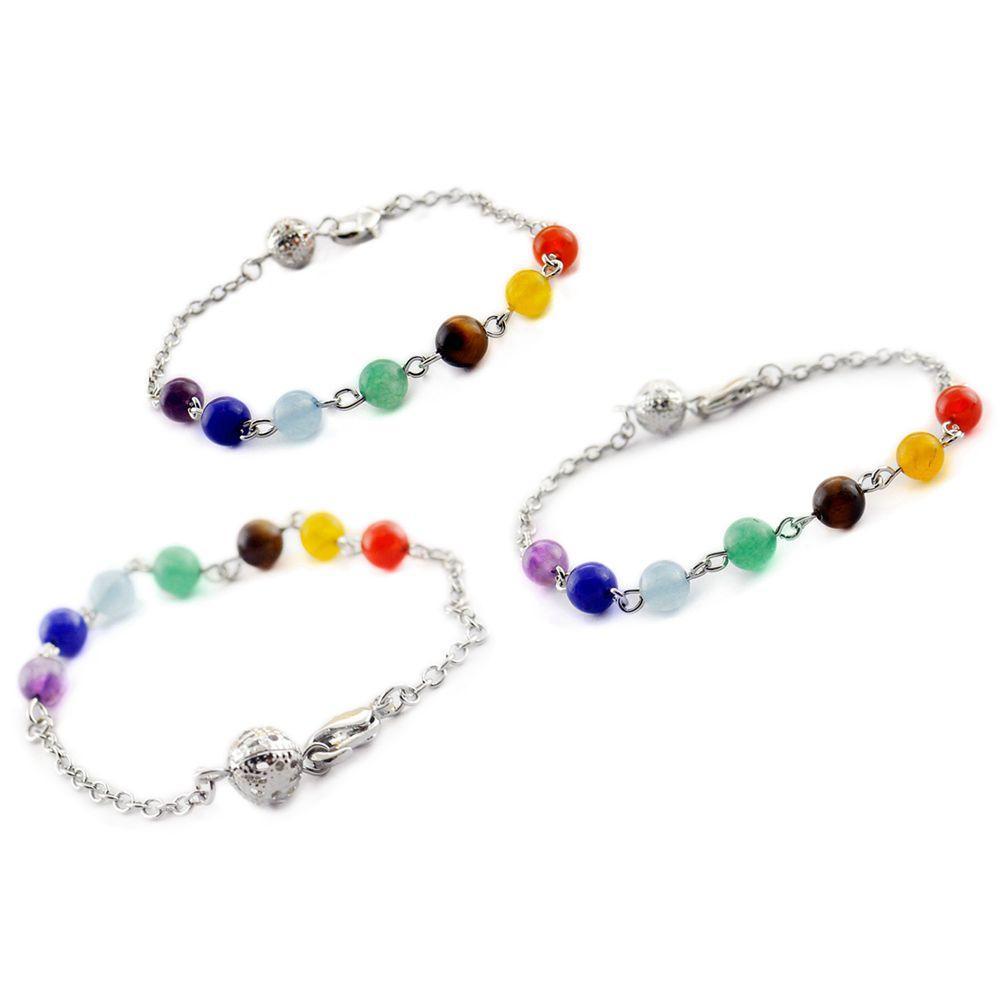 Naturstein 7-farbig Simplizität Stränge Perlen Armbänder 7 Chakren Reiki Healing Hummer Schnalle Armband Schmuck Pendel Kristallkette Hängen Zubehör