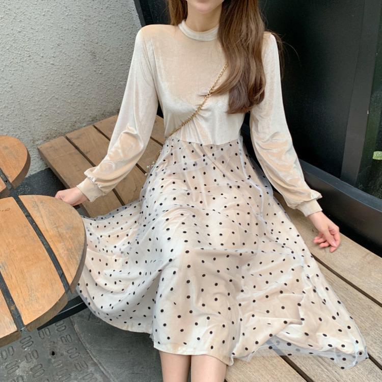 Mode marée printemps rétro Pleuche Pleuche Dot Mesh Hemline Robe pour femme Coréen Casual QF275 Robes