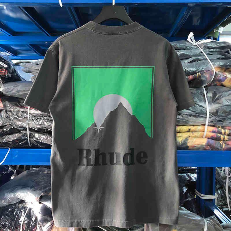 RHODE Летнее Новое письмо обратно Восход солнца Печать с коротким рукавом свободный хип-хоп негабаритные мужские и женские футболки