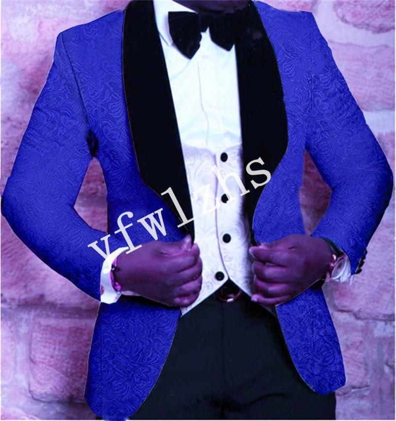 Handsome Embossing Groomsmen Shawl Lapel Groom Tuxedos Men Suits Wedding/Prom/Dinner Man Blazer(Jacket+Pants+Tie+Vest) W908