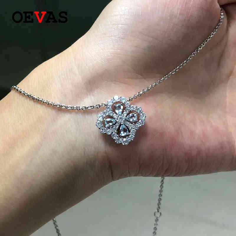 OEVAS 100% 925 Sterling Silver Sparkling Aquamarine Hollow Out Four Leaf Clover Pendant Necklace For Women Party Fine Jewelry 210525