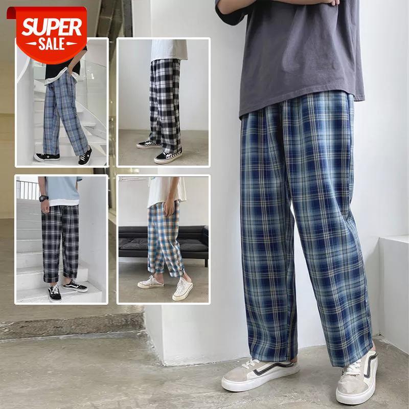 2020 Yaz erkek Ekose Baskı Casual Kargo Baggy Pantolon Streetwear Pantolon Hip Hop Stil Jogger Sweatpants S-2XL # WF9T