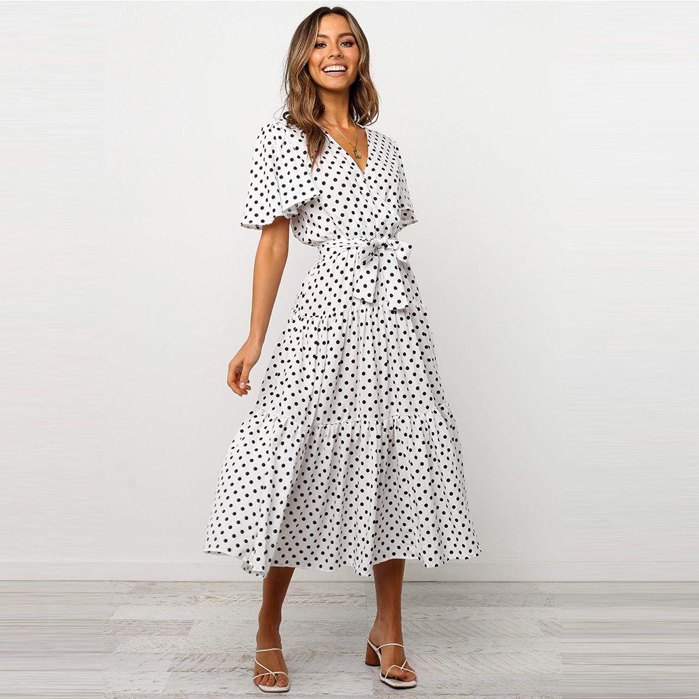 Frauen Kleider Plissee V-Ausschnitt Polka Dot Kurzarm Kleid Frühling und Herbst Frauen Kleidung Sexy