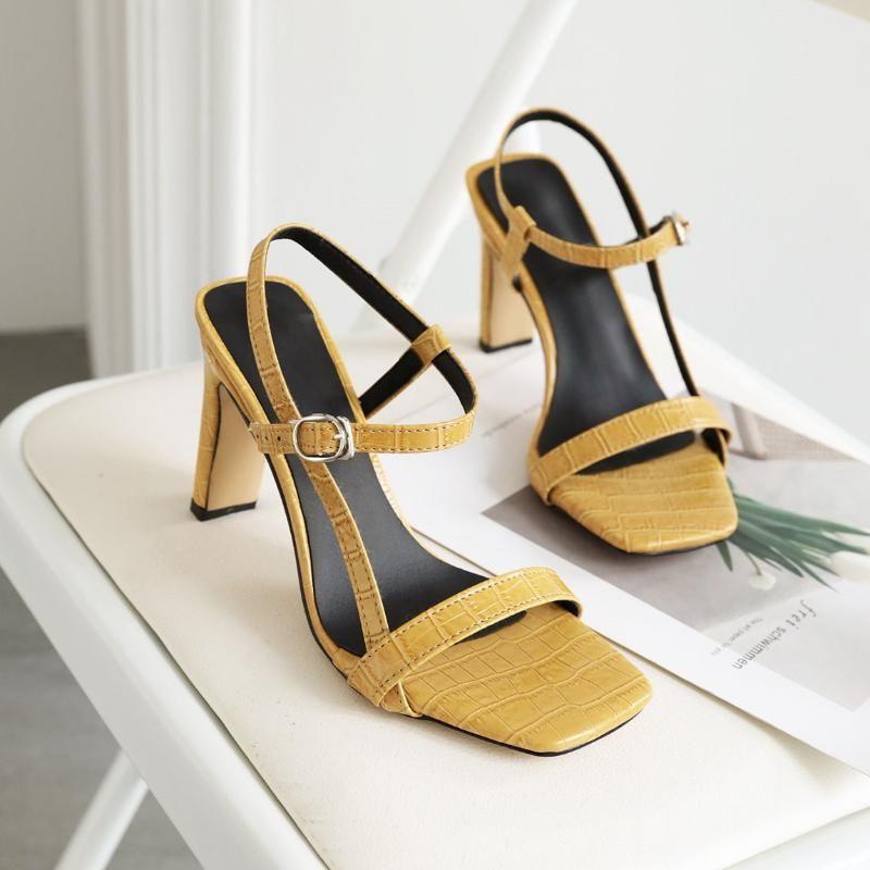 Meotina Summer Sandals Shoes Women Buckle Thick Heels Party Elegant Super High Heel Ladies Red Big Size 34 46 Nude L9U5#