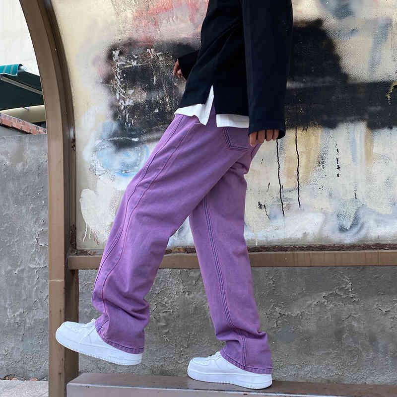 Hombres Casual 2021 Denim Hip Hop Jeans neutros Streetwear Slov Straight Jean Pantalones Chica Skateboarding - Pantalones