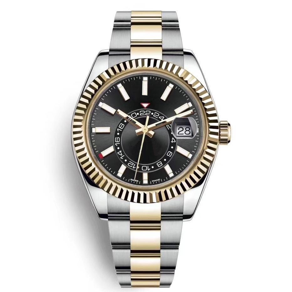 Alta Qualidade Céu Deluxe Men Relógios Automático Moda Moda Negócio Aço Inoxidável Ouro 2813 Movimento Luminoso Relógios Impermeáveis