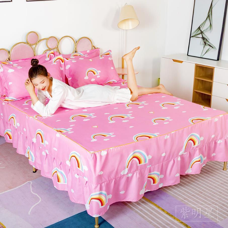 Cartoon estilo cama saia aloe fibra cama cama estudantes estudantes quarto menino menina garota colcha antifouling com fronha f0035 210420