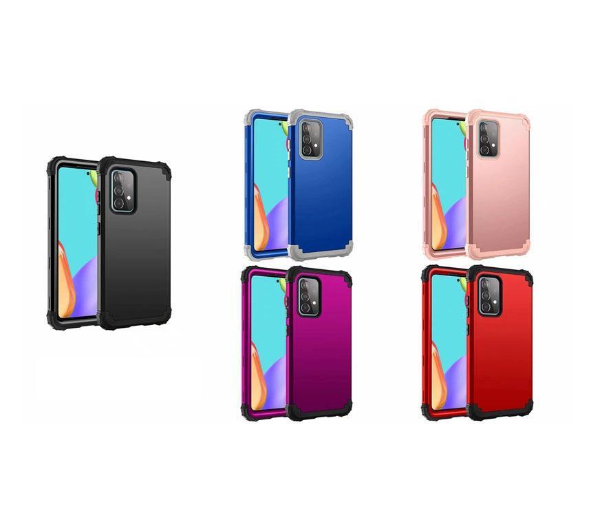 Casos de telefone de defesa de moda para Samsung Galaxy A52 A72 5G PC Duro Plástico + Silicone Silicone Armadura Híbrida Heavy 3 em 1 Quadro Bumper à prova de choque