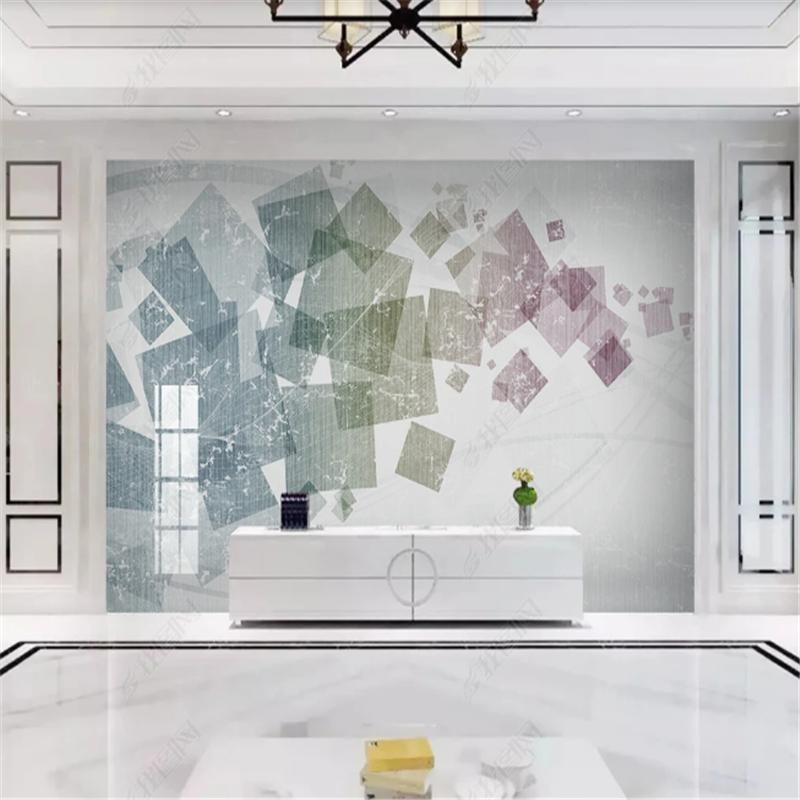 Современные минималистские обои для гостиной Геометрическая абстрактная линия Телевизор Фон Обои для дома Обои