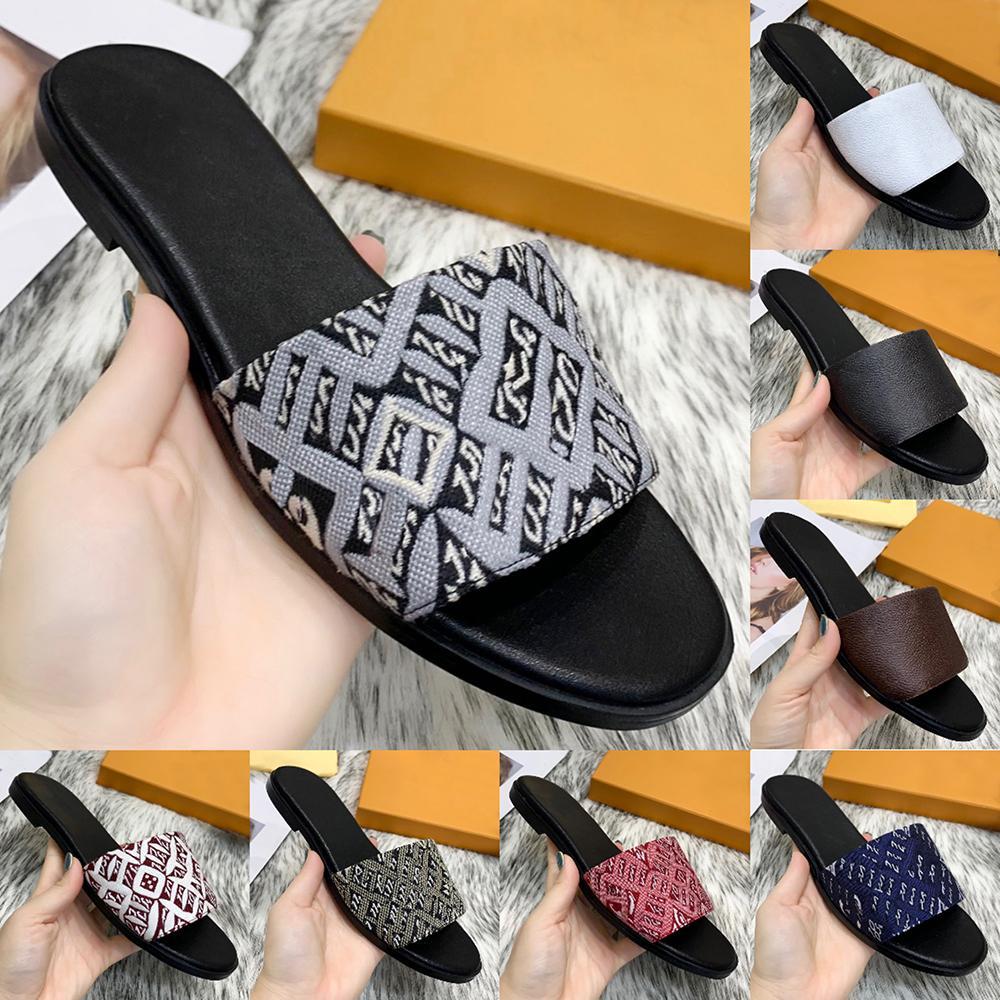 Sommer Modedesigner Flachfolien Slipper Flip Flops Leder Outsohle Jacquard Stoff Leinwand Hausschuhe Sexy Damen Klassische Sandalen