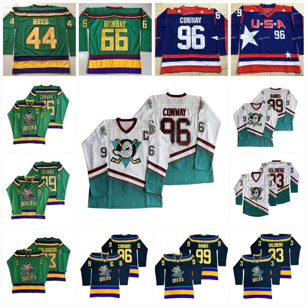 Mens Mighty Ducks Movie Hockey Jersey 96 Charlie Conway 99 Adam Banks 33 Greg Goldberg Verde Branco Preto azul em estoque