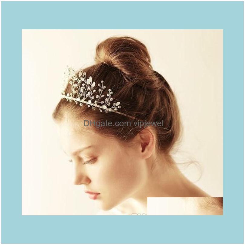 Jewelryprincess Crown Tiara Wedding Bridal Rhinestone Headband Sier Crystal Hair Aessories Band Jewelry Headpiece Headdress Beads Drop Deliv