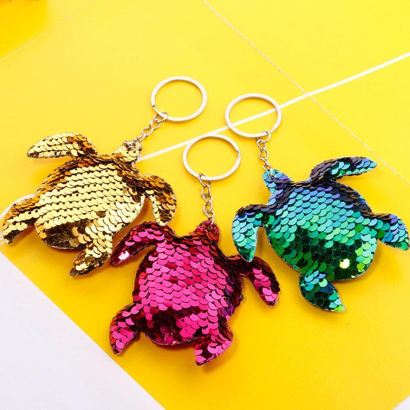 Créativité Bling Susque Porte-clés Porte-clés Pendentif Colorful Tortue brillante Carte de la voiture Clé Chaîne Bague Dames Sac Pendentifs Bijoux Accessoires Cadeau