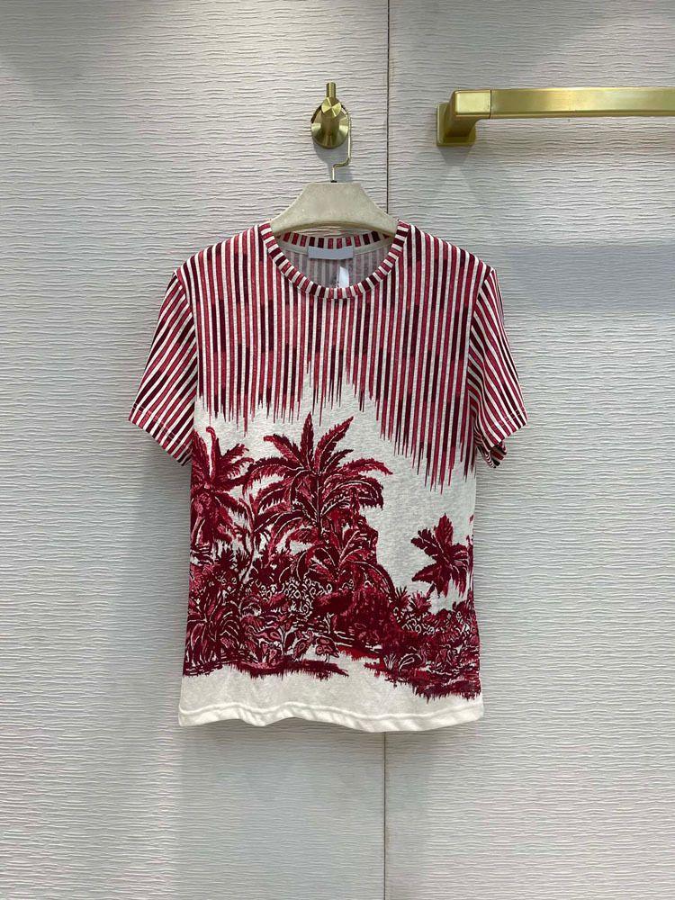 Milan pist kadın t-shirt 2021 o boyun kısa kollu baskı tasarımcı mont marka aynı stil T-shirt 0421-3
