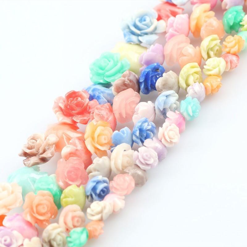 20 unids tulipán color resina rosa flor bead multicolor sintético coral hallazgos para bricolaje joyería pendiente pulsera tobetlet accesorios otro