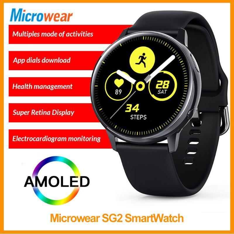 SmartWatch Microwear ECG + PGG 1.19 بوصة شاشة تعمل باللمس الكامل معدل ضربات القلب اللاسلكي IP68 للماء S20 L12 L13 الساعات الذكية