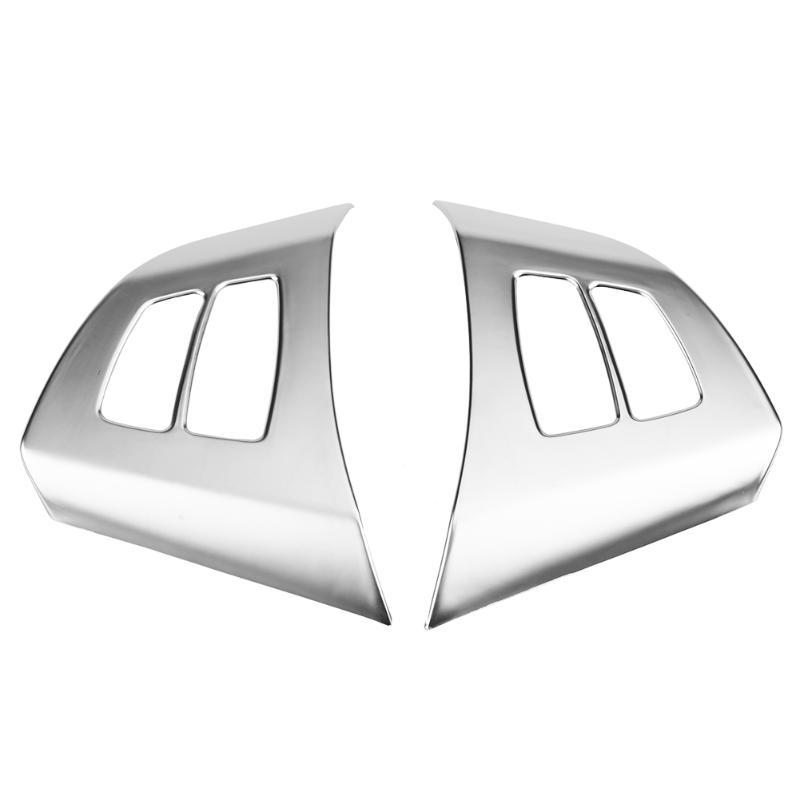 Cubiertas del volante 2pcs Botón de cromo Marco de la cubierta de la cubierta del marco para X5 E70 2008-2013 Accesorios de reemplazo interior de automóviles